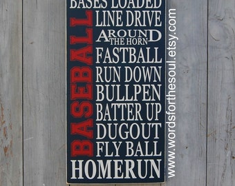 Baseball Typography Word Art Sports Wood Sign Nursery Wooden Typography Subway Sign