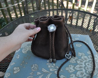 Brighton Brown Pebbled Suede Drawstring Purse with Brown Leather Braided Strap