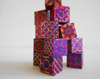 Small wood blocks graphic design patterns quilt pieces desk art