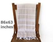 Cotton Blanket Bedspread Cotton Sofa Cover Turkish Furniture Throw Turkish Blanket Tablecloth Beige LATTE XX LARGE 220 x 160 cm
