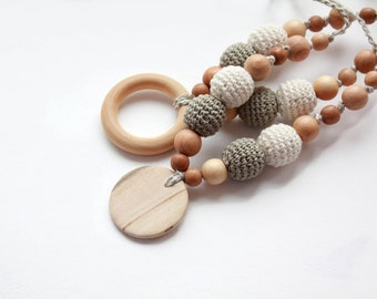 Neutral Linen Nursing Necklace with Pendant-Juniper Breastfeeding Necklace- Teething necklace with crochet beads-Mommy Necklace