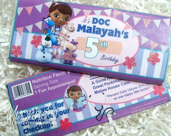 Doc McStuffins Candy Bar Wrapper - Chocolate Bar Favor - Party Birthday Favor
