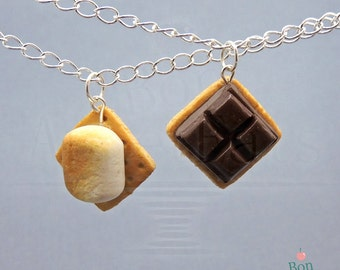 S'mores Best Friends Necklace Set, S'mores Necklace, Polymer Clay Food, Food Jewelry, Miniature Food, BFF Necklaces, Best Friends Gifts