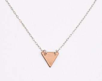 Petite copper triangle on sterling silver or gold chain