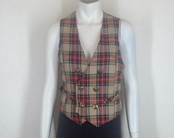 plaid vest, wool tartan double breasted, vintage wool waistcoat