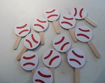 Baseball Cupcake Toppers - Baseball Birthday Party - Baseball Birthday Cupcake Toppers