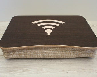 Pillow Tray / Wooden Laptop Bed Tray / iPad Table / Breakfast Serving Tray / Laptop Stand / Serving Tray WiFi Dark