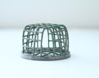 Vintage Dazey Metal Flower Frog Cage Green Metal