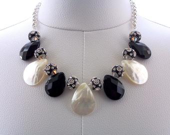 Necklace Black Onyx Gemstone Mother of Pearl Swarovski Crystal Black Silver Chain White Polymer Clay Jewelry Jewellery Statement Fashionable