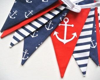 3m long nautical marine shabby fabric garland, banners, bunting, guirlande de fanions de style maritime