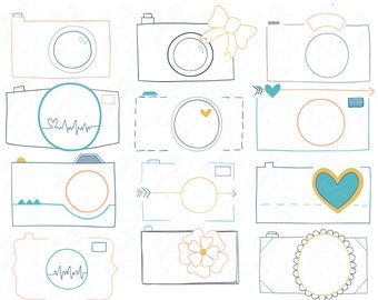 Cameras Clip Art, Doodled, Abstract Cameras in Yellow, Blue, Orange & Gray