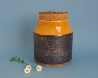 Retro kitchen canister Hanstan Australian Studio pottery 1970s orange and brown cork topped jar storage