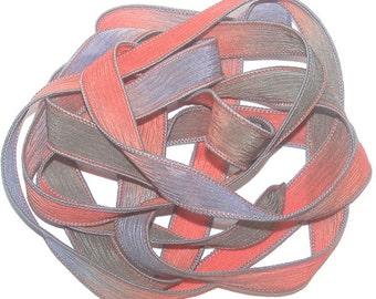 Sassy Silks Hand Painted Silk Ribbon Fire Opal