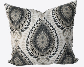 Decorative Teardrop Medallion, Grey, Beige Pillow Cover, 18x18, 20x20, 22x22 or Lumbar Throw Pillow
