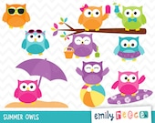 80% OFF SALE Owls Summer Beach Cute Clip Art, Instant Download, Commercial Use