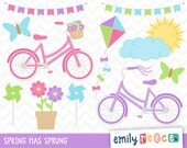 80% OFF SALE Spring Bike Kite Pinwheel Butterfly Flower Cute Clip Art, Instant Download, Commercial Use