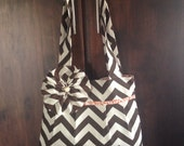 Brown Chevron Pleated Purse w/ Orange Damask Lining & Flower Pin
