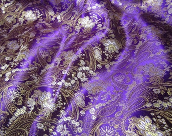 Chinese brocade fabric in royal purple with a floral pattern in gold and silver - 1 yard of royal purple brocade with silver and gold, 1 yd.