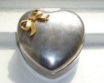 Heart Shaped Jewelry Box, Silver Tone with Red Lining, Silver and Gold, Gold Ribbon Detail, Trinket Box