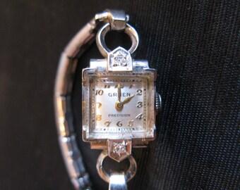 Gruen Watch Precision Ladies White 14k Gold Diamonds Swiss Movement Vintage