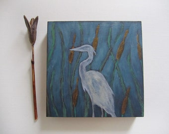 Heron *Self-Reliance* Miniature Silhouette Painting on Wood Panel