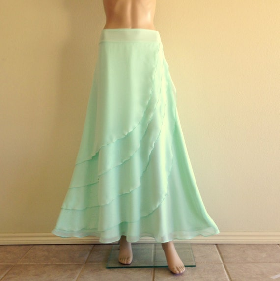 light mint green bridesmaid skirt chiffon maxi skirt light