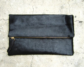 Jet Black Calf Hair Fold Over Zipper Pouch Leather Clutch