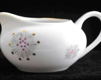Lipper and Mann Stardust Creamer with Gold and Purple Stars Vintage Fine China Japan Vintage 1950s 1960s