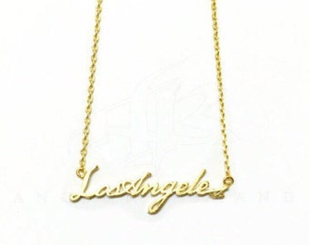 "Tiny Gold ""Los Angeles"" Necklace - Dainty, Simple, Birthday Gift, Wedding Bridesmaid Gift"