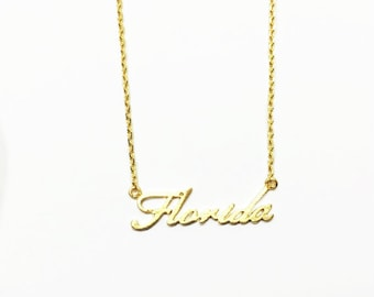 "Tiny Gold or Silver ""Florida"" Necklace - Dainty, Simple, Birthday Gift, Wedding Bridesmaid Gift"