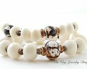 Bohemian Style Creamy White Bone Stack Bracelet & Agate