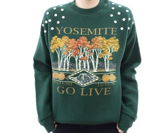 Yosemite Forest Green Crewneck Sweatshirt with Silver Circle Studs
