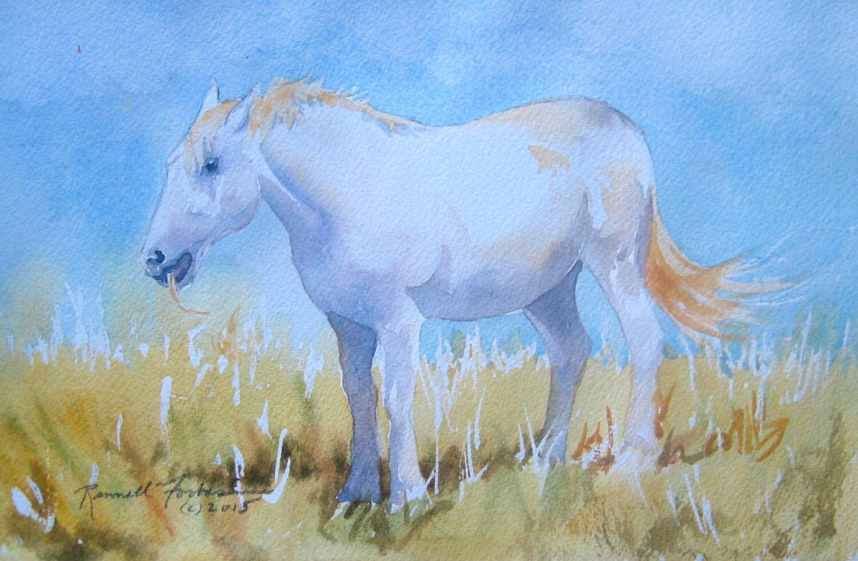 White Horse Original Watercolor White horse in landscape