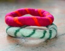 SALE: GIFT IDEA- A Set of 2 Swirl Felted Bangles