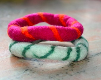 SALE: GIFT IDEA- A Set of 2 Swirl Felted Bangles