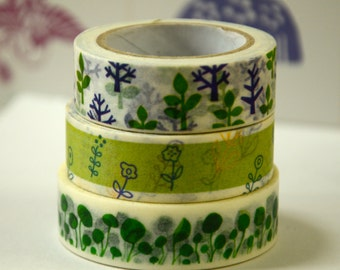 3 Rolls of Japanese Washi Tape Roll- The Spring