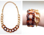 Tortoise Statement Necklace chunky gold statement jewelry bracelet tortoiseshell link VOGUE