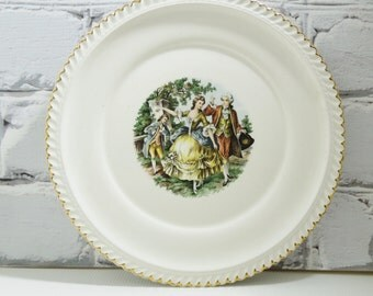 French Courting Scene Dinner Plate. 22 Kt Gold Gilding. French Country Home. Transferware. Collectible Plates. Romantic Decor.