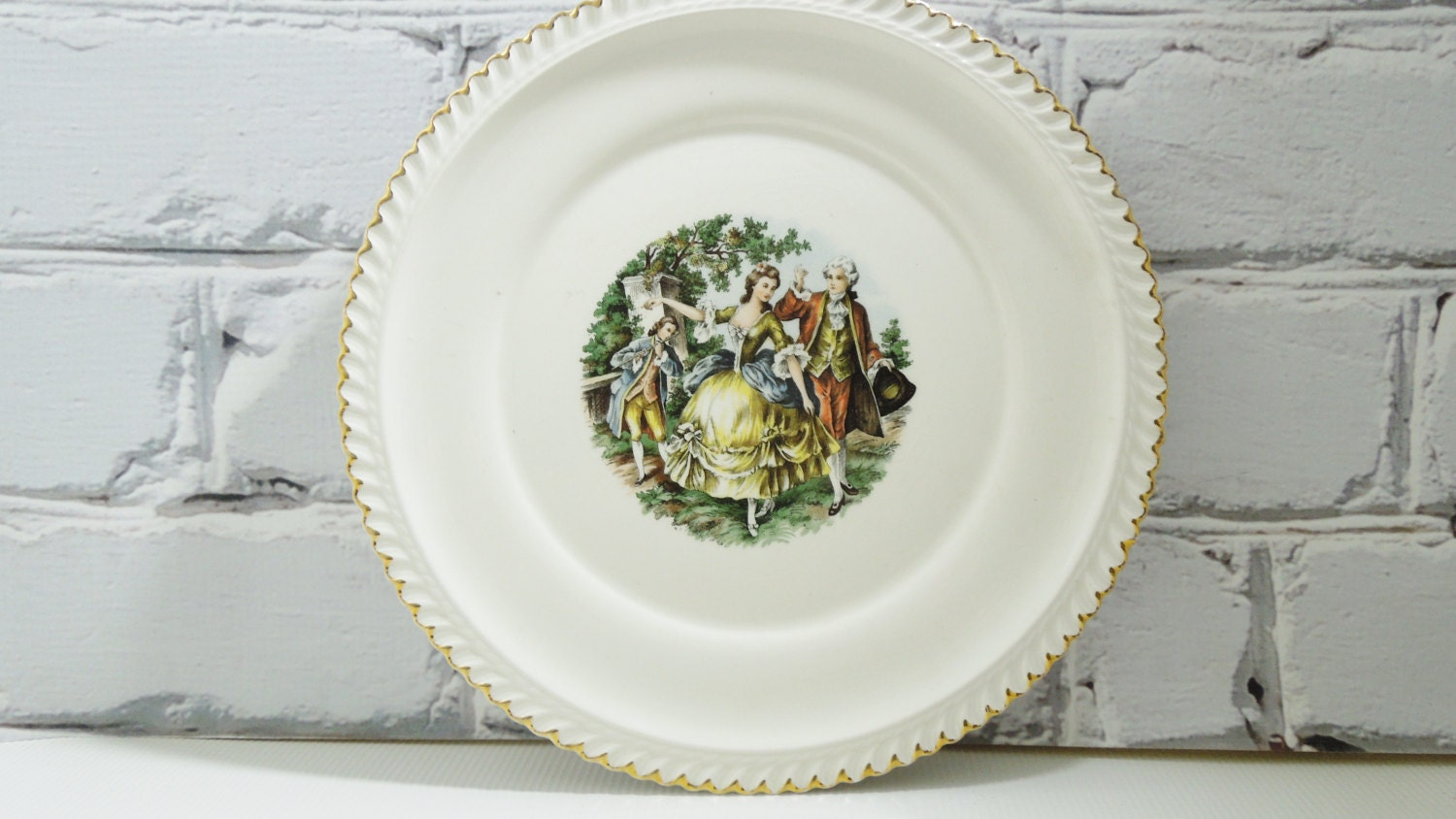 French Courting Scene Dinner Plate 22 Kt Gold Gilding French