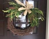 Fall Wreath, Winter Wreath, Grapevine Wreath, Primitive Wreath