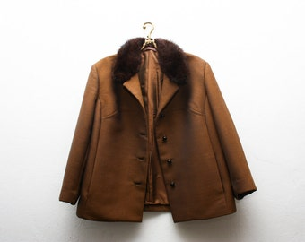 Vintage Wool Brown Winter Coat Fur Collar