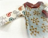 LAST ONE! Baby boy one piece romper bodysuit soft knit mint blue/green mustard organic birch bikes bicycle orange edge
