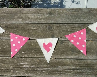 Vintage Heart Bunting- Valentine Banner - Hearts and Dots