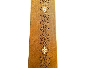 Gold Swanky Thin Necktie Mid Century Vintage