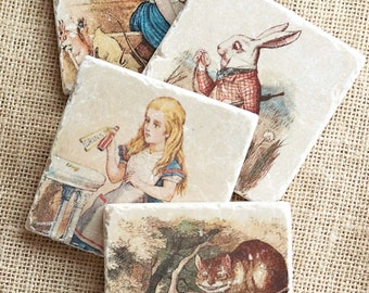Alice in Wonderland- Coasters, Alice in Wonderland Decor, Alice in Wonderland Gift, Alice in Wonderland Tile, Lewis Carroll