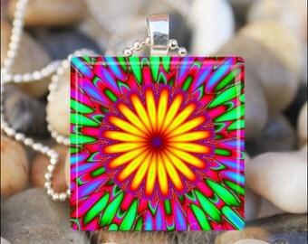 Kaleidoscope Flower Mandala Colorful Sunburst Art Glass Tile Pendant Necklace Keyring