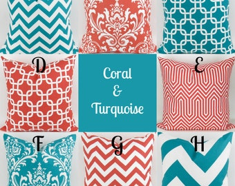 Throw Pillow Cover, Turquoise & Coral Pillow, Teal/Turquoise Pillow, Coral Pink Pillows  -18x18 inch- Mix/Match patterns by Premier Prints