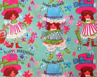 Vintage Juvenile BIRTHDAY Gift Wrap - Wrapping Paper - MOD GIRLS -  Flower Power - 1960s 1970s