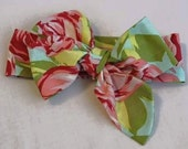 Boutique Bow Headwrap - M2M - Amy Butler Tumble Roses Pink