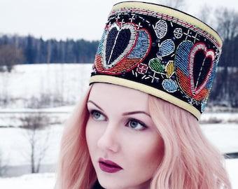 Handmade ethnographic crown with Latvian writings